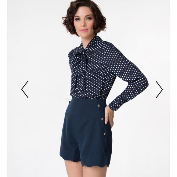 d8f6991a7de8 Polka Dot Long Sleeve Button Up Chiffon Blouse